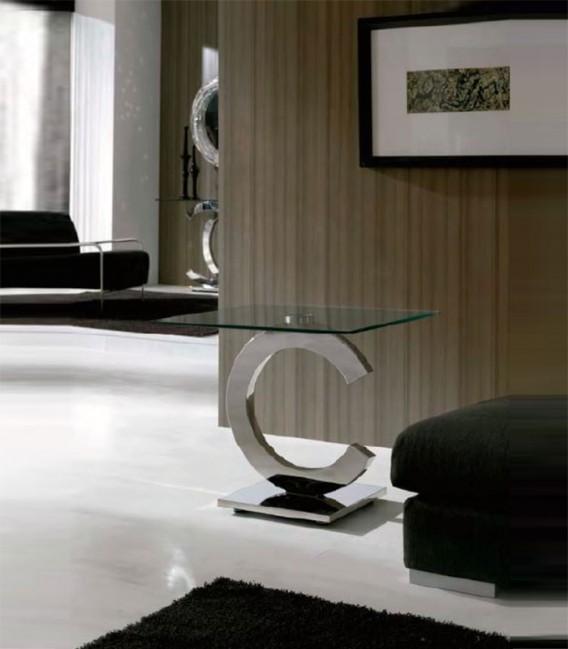 Mesa de rinc n de acero y cristal calima compra a 422 - Mesas de rincon ...