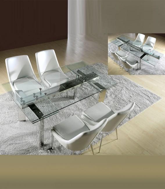 Mesa de comedor de cristal extensible dublin compra a for Mesas de comedor de cristal y acero extensibles
