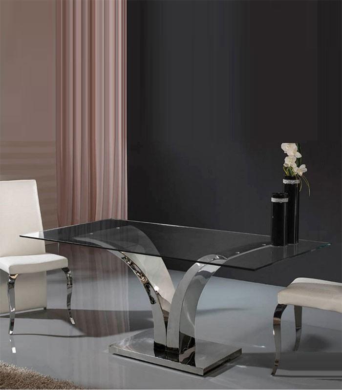 Mesa de comedor acero y cristal isabella compra a 1786 for Mesas redondas de cristal y acero