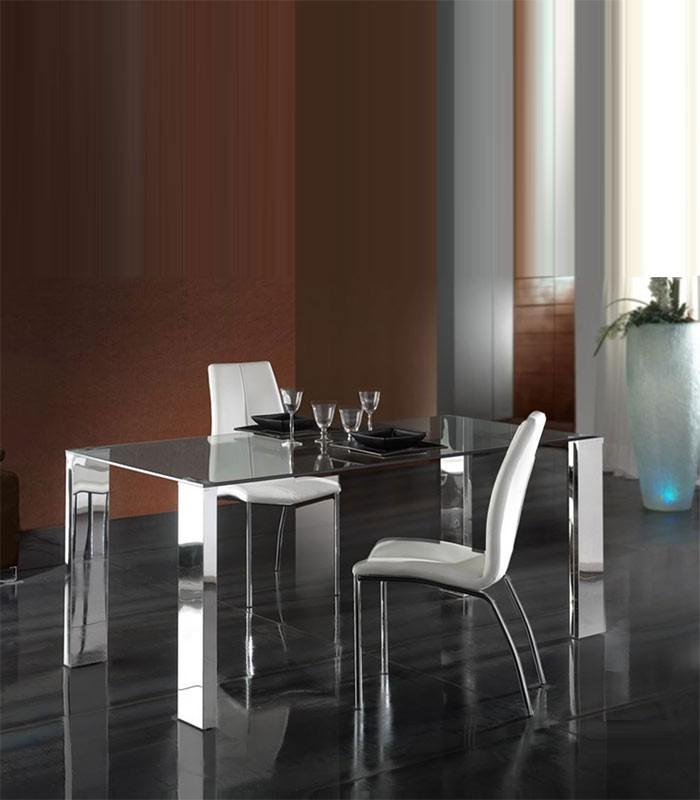 Mi casa decoracion mesas deedor extensibles cristal for Adornos mesa comedor cristal