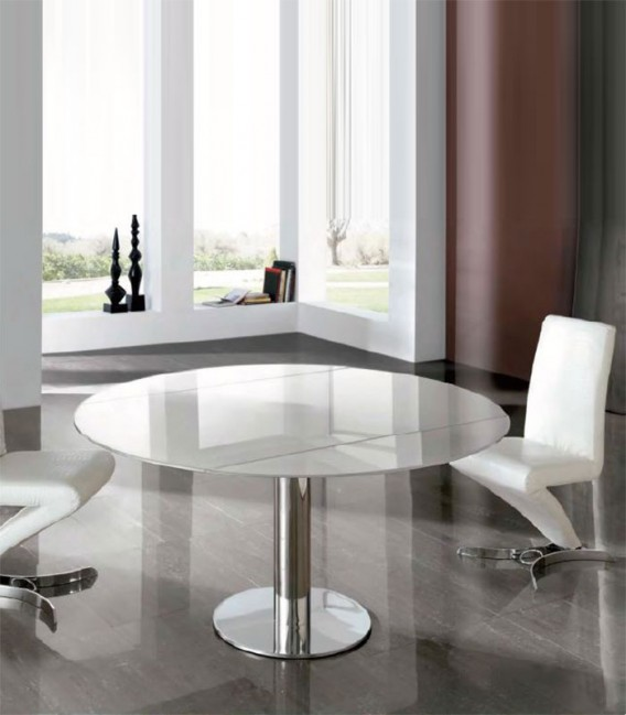 Mesa de comedor de acero y cristal alba compra a 1421 - Mesas acero y cristal ...