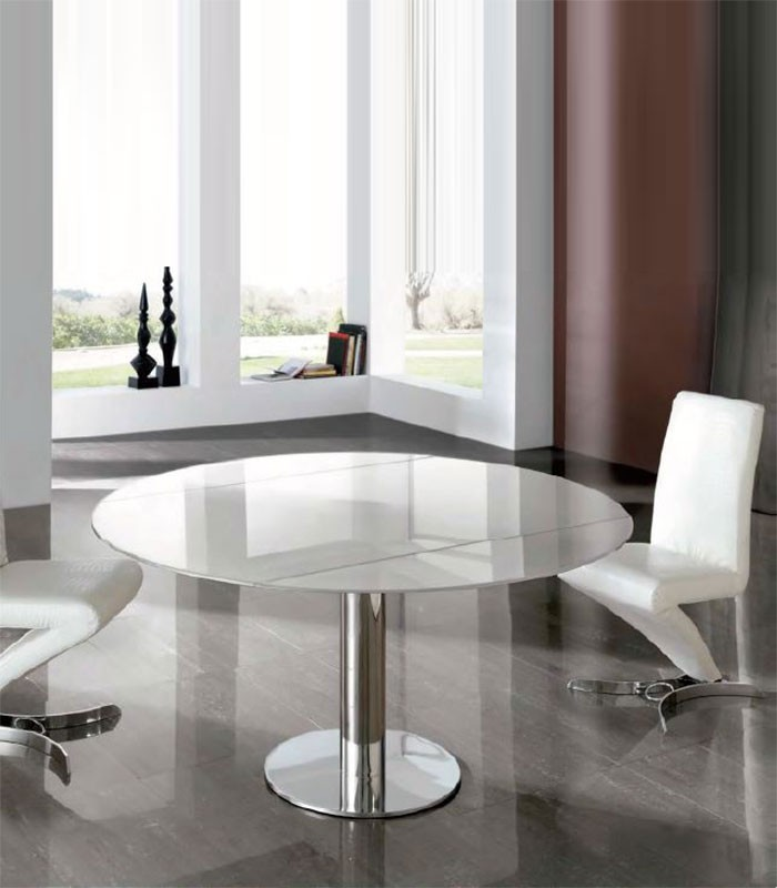 Mesa de comedor de acero y cristal alba compra a 1421 for Mesas de comedor redondas de cristal
