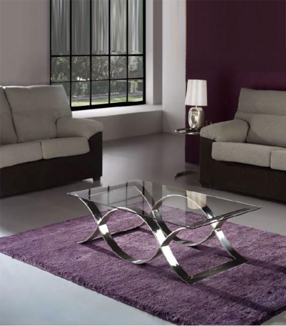 Mesa de centro cristal y acero time compra a 912 en - Mesa centro cristal y acero ...