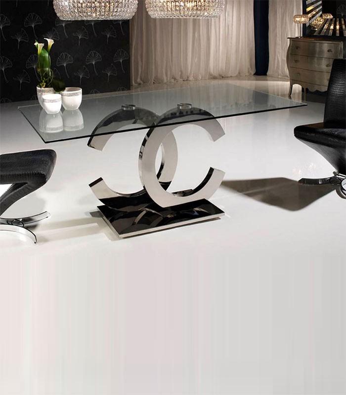 Mesa de comedor de cristal y acero calima compra a 1430 - Mesas acero y cristal ...