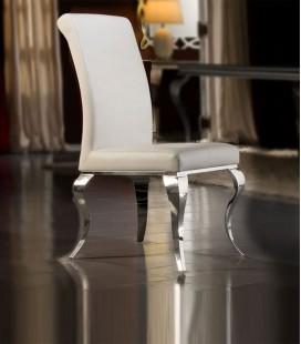 Silla Isabelina de Acero y Tapizada en Polipiel color Blanco Barroque