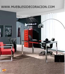 Mesa de Oficina de Acero y Cristal M-021