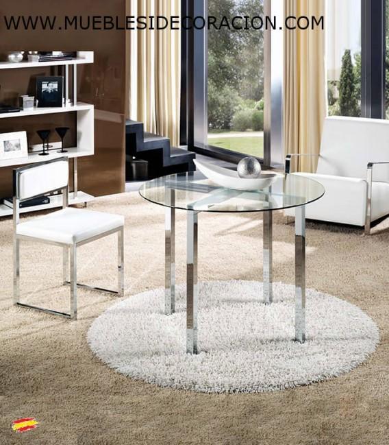 Mesa redonda de acero y cristal m 023 compra a 455 en - Mesa redonda de cristal ...
