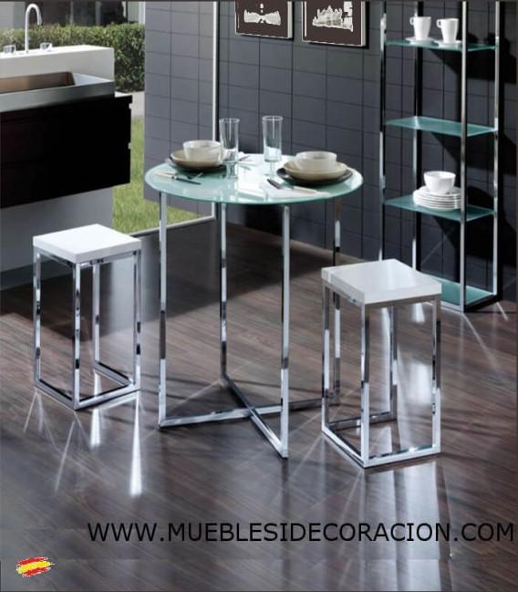 Mesa redonda de acero y cristal m 024 compra a 387 en - Mesa redonda de cristal ...