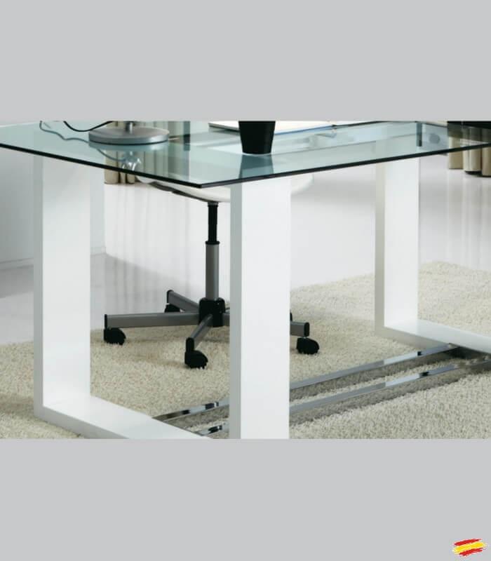 Mesa de oficina de madera y cristal m 116 compra a 824 for Mesas de despacho de cristal