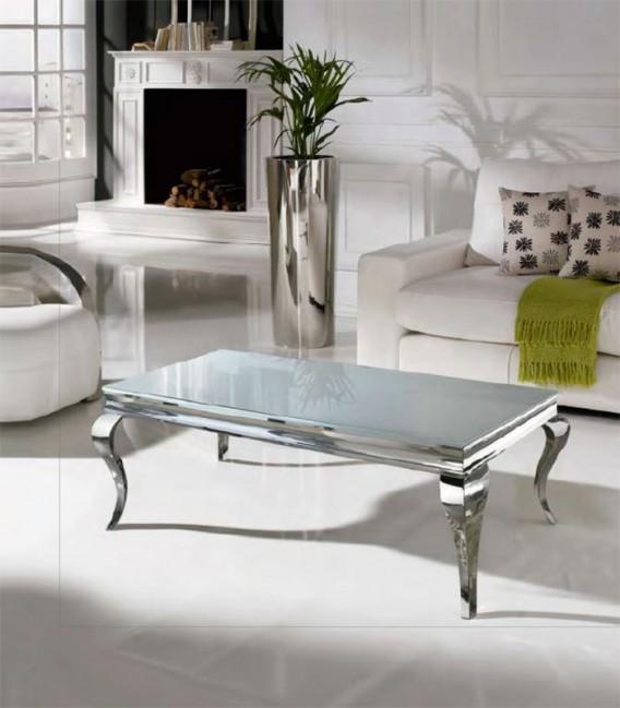 Mesa de centro isabelina acero y cristal barroque compra - Mesa centro cristal y acero ...