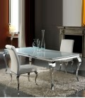 Mesa de Comedor de Acero y Cristal Barroque