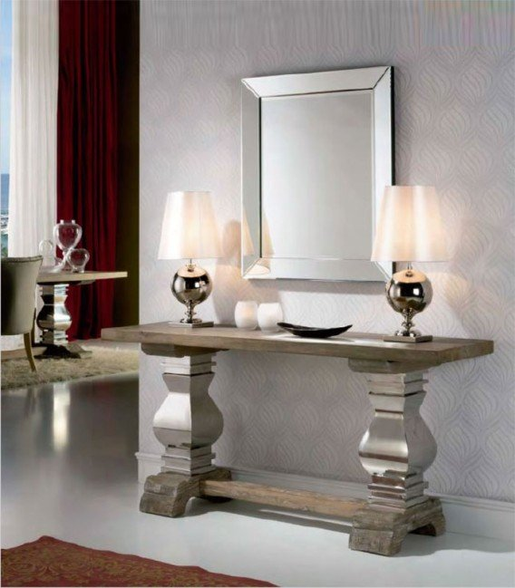 Consola de madera y acero antica compra a 1670 en nuestra tienda de muebles y decoraci n - Taquillones de entrada ...