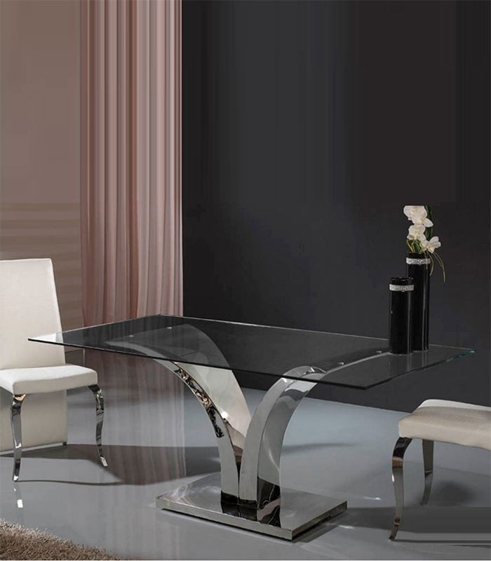 Mesas de comedor de cristal y acero ideas de disenos - Mesa comedor cristal y acero ...