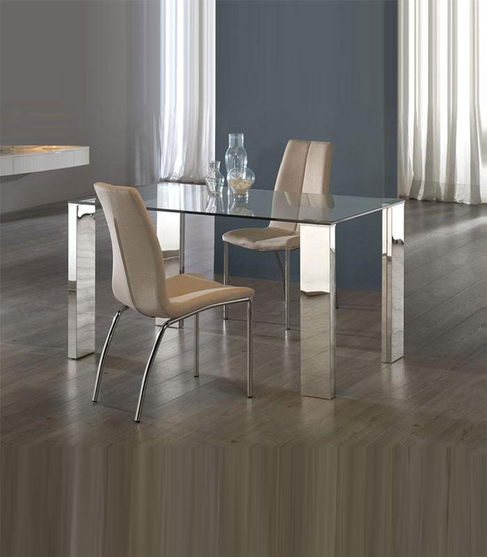 Mesa de comedor de acero y cristal malibu compra a for Mesas redondas de cristal y acero