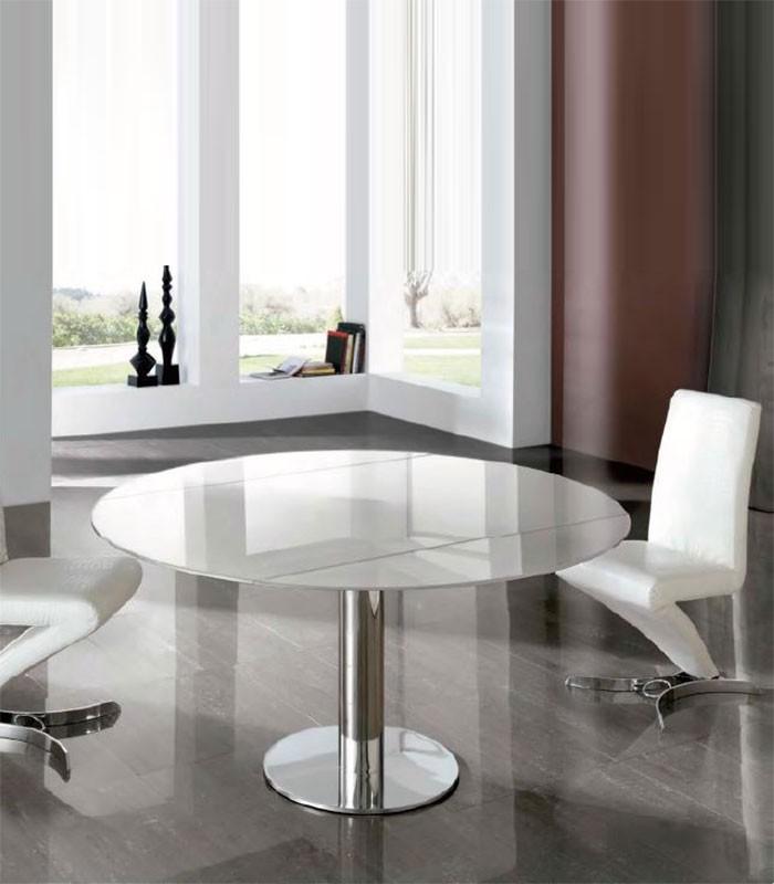 Mesa de comedor de acero y cristal alba compra a 1421 for Mesa vidrio redonda para comedor