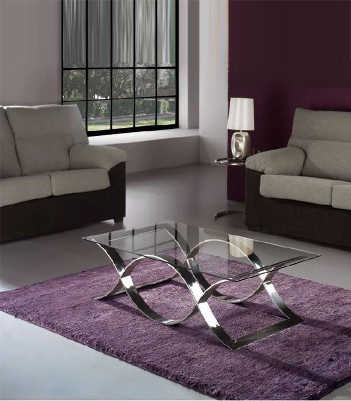 Mesa de centro cristal y acero time compra a 912 en for Mesas redondas de cristal y acero