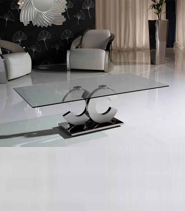 Mesa de centro de cristal y acero calima compra a 634 en nuestra tienda de muebles y decoraci n - Mesas acero y cristal ...