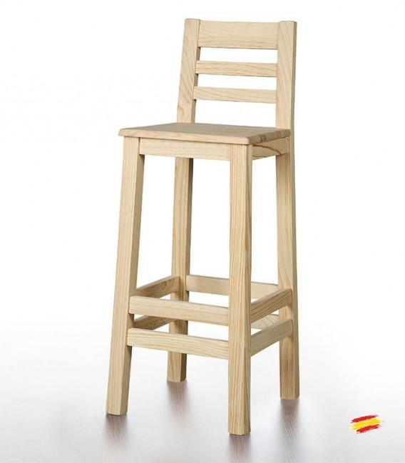 Taburete alto con respaldo y asiento de madera