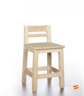 Taburete bajo con respaldo y asiento de madera