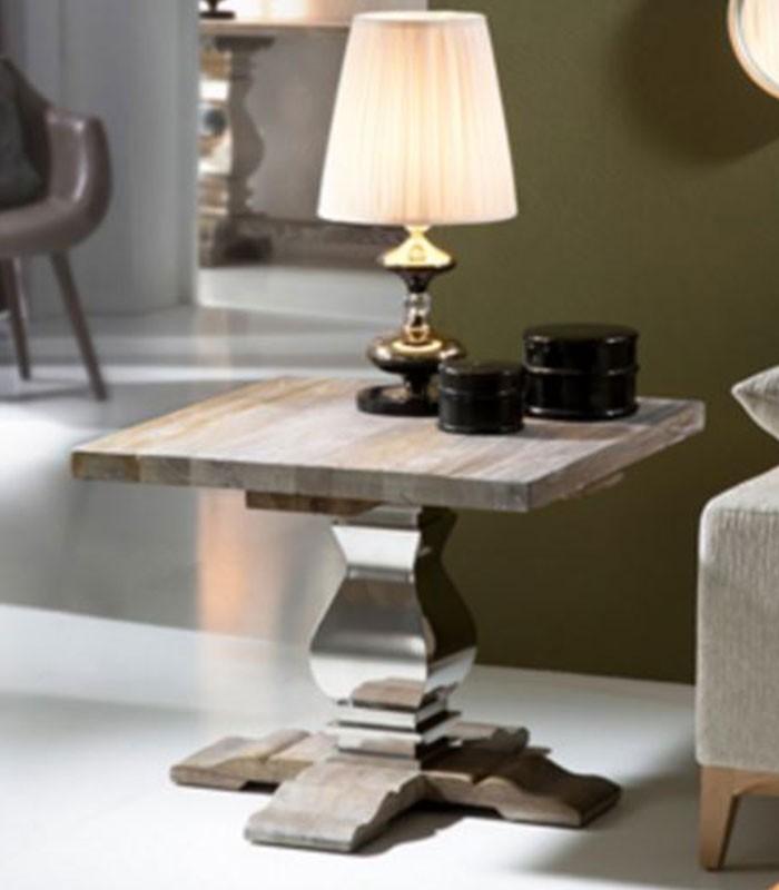 Mesa de rinc n acero pulido y madera antica compra a 907 - Mesas de rincon ...