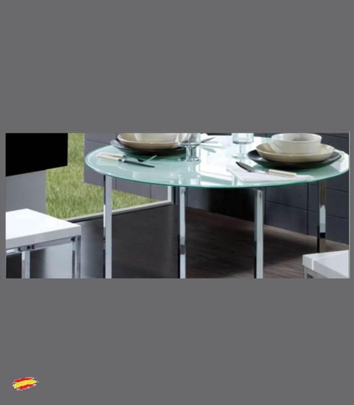 Mesa redonda de acero y cristal m 024 compra a 387 en for Mesas redondas de cristal y acero