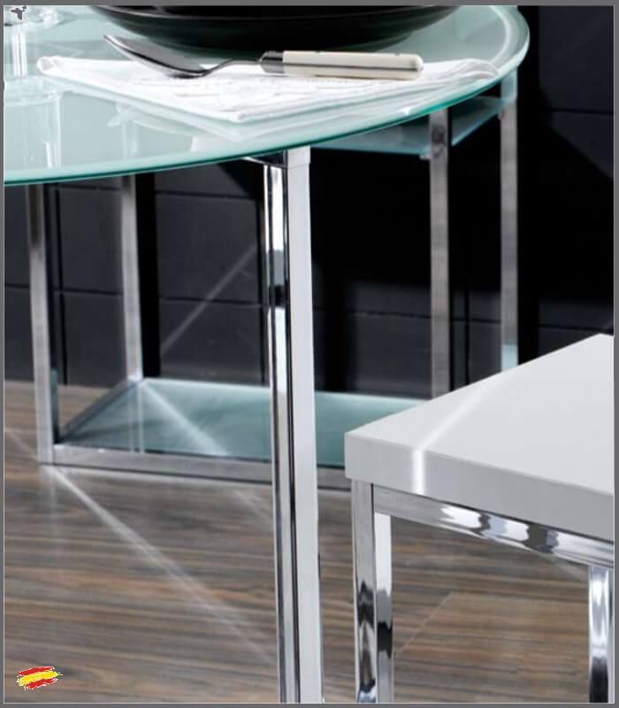 Mesa redonda de acero y cristal m 024 compra a 387 en nuestra tienda de muebles y decoraci n - Mesas acero y cristal ...
