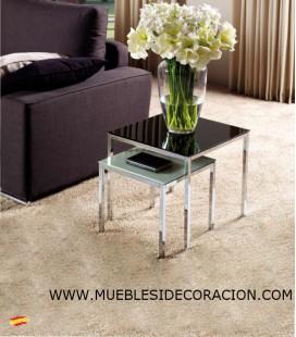 MESAS AUXILIARES DE ACERO Y CRISTAL M-042 Y M-041