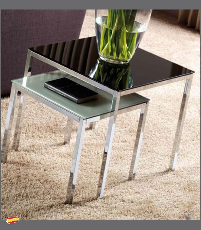 Mesas auxiliares de acero y cristal m 042 y m 041 compra for Mesas redondas de cristal y acero
