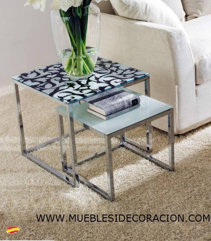 Mesas auxiliares de acero y cristal m 043 y m 044 compra a 481 en nuestra tienda de muebles y - Mesas acero y cristal ...
