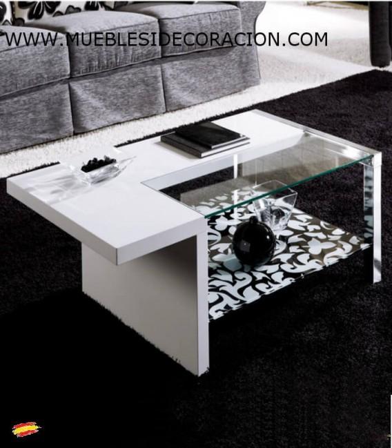 MESA DE CENTRO DE ACERO, CRISTAL Y TABLERO M-099