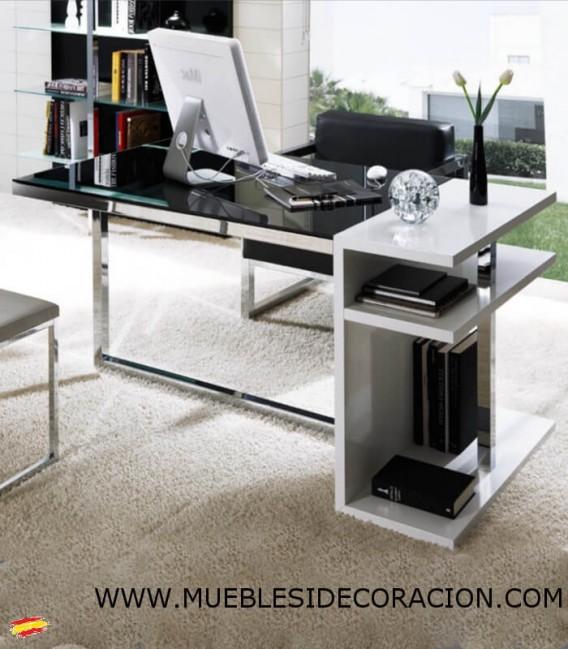 ESCRITORIO DE OFICINA DE ACERO Y CRISTAL M-101