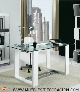 Mesa de Oficina de Madera y Cristal M-116