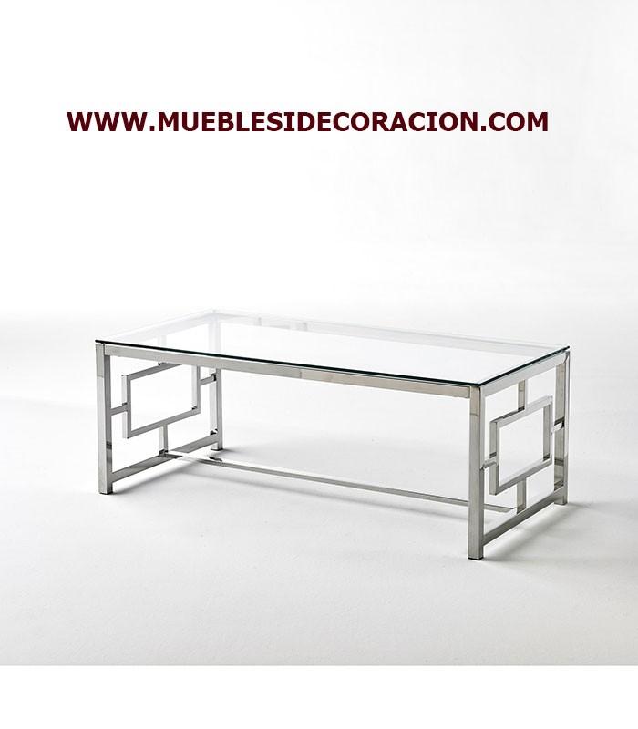 Tiendas Mesas De Centro Modernas.Mesa De Centro Moderna De Cristal Y Acero Ref Tc 228