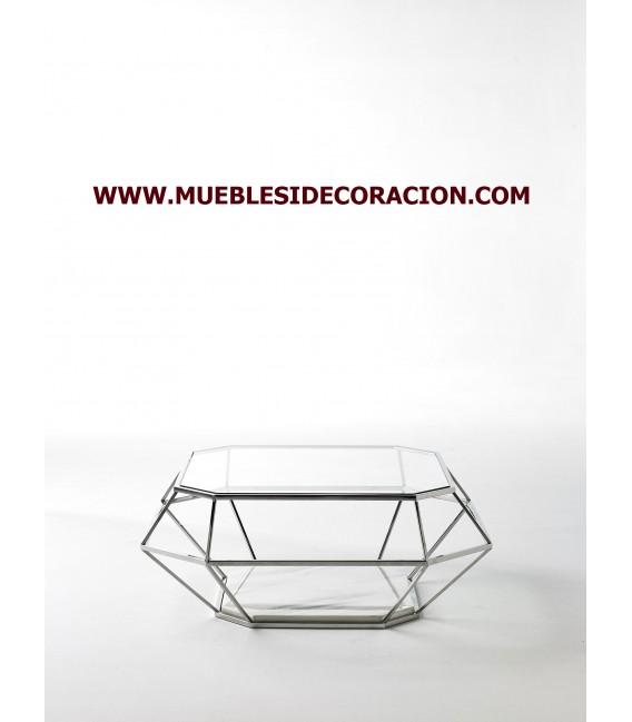 Mesa De Centro De Acero Cristal Y Marmol Ref Tc 235
