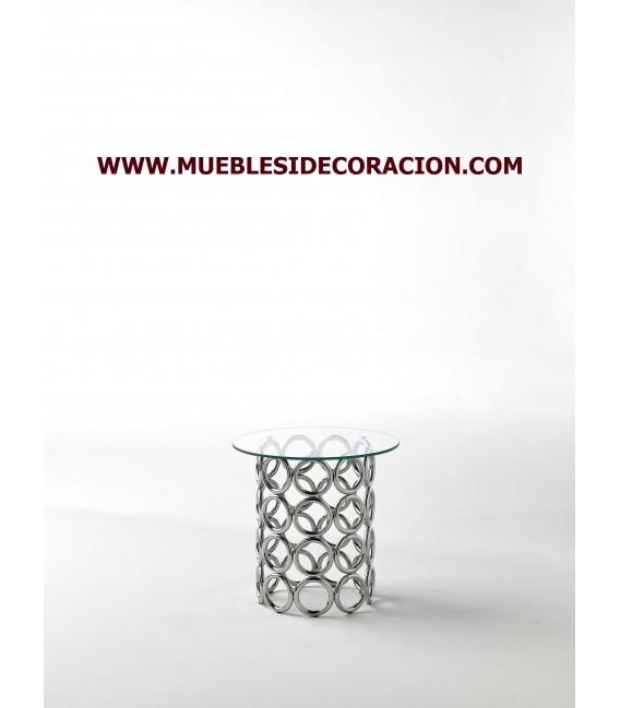 MESA AUXILIAR DE CRISTAL Y ACERO REF. TC-233