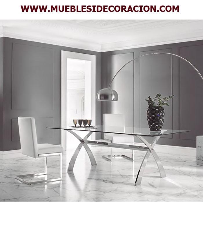 Mesa de comedor de acero y cristal ref td 18 compra a - Mesas de comedor de cristal y acero ...