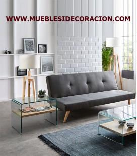 MESA AUXILIAR DE CRISTAL Y MADERA M-1130